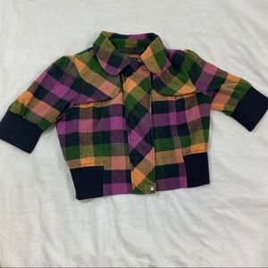 Wool Beverly Hills Polo Club Plaid Cropped Jacket